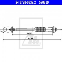 LINKA SPRZĘGŁA L 933 MM ATE 24.3728-0839.2