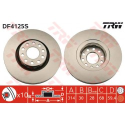 TARCZA HAMULCOWA AUDI 100 TRW DF4125S