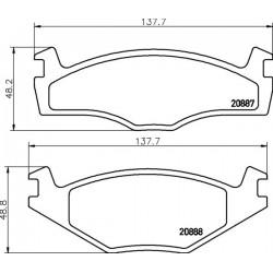 KLOCKI HAMULCOWE PRZOD GOLF 83-,PASSAT 1.6 79-89 TEXTAR 2088710